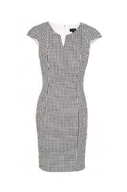 Optical Print Fitted Shift Dress