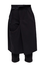 Trousers with detachable layer