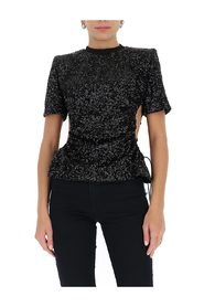 sequin-embellished cut-out T-shirt