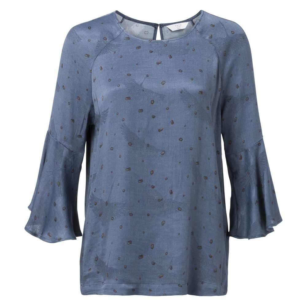 WOVEN TOP WITH DOT PRINT, RUFFLED SLEEVES AND BACK DETAIL
