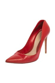 Red Leather Pointed Toe Pumps