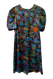 Dress with Puff Sleeves in Silk