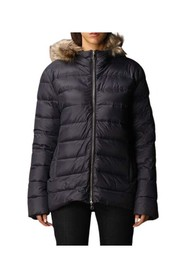 Short down jacket with hood and detachable fur closure with double-slider zip and buttons.