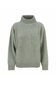 High neck cashmere and wool rib sweater