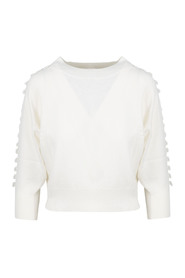 MACRAME` DETAILS CROPPED SWEATER