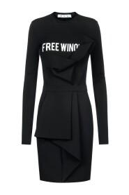 asymmetric slogan dress with draped detail