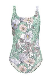 Floral-printed one-piece swimsuit