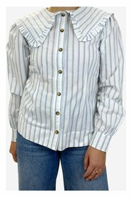 Striped top with ruffled collar