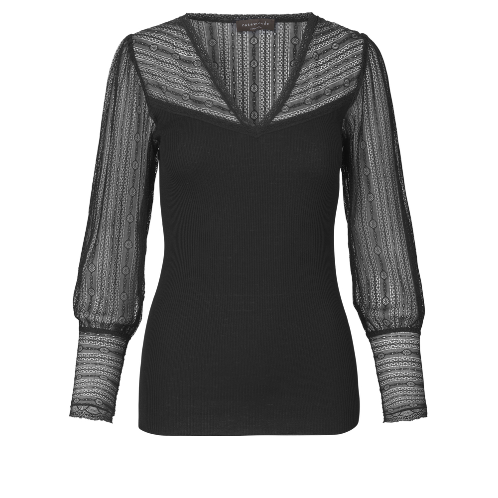 Silk T Shirt V neck regular long sleeve