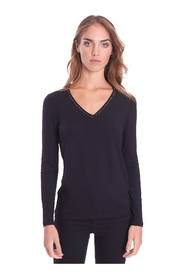 POINTED NECK SWEATER WITH LUREX PROFILES