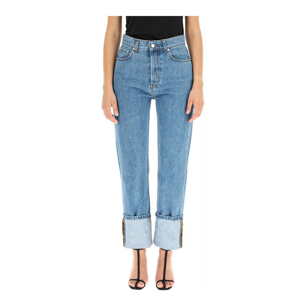 cho turn-up jeans