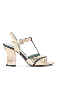 Amalia platinum craqueled leather heeled sandal