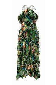 Floral Check-Print Ruffled Gown