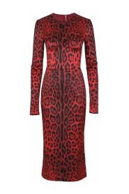 Calf-Length Bustier Dress With Leopard Print