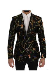 Bird Print Silk Slim Fit Blazer Jacket
