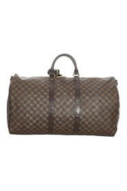 Pre-owned Damier Ebene Keepall Bandouliere 55 Canvas