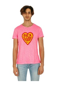 M / M FLUO T-SHIRT WITH SEX WRITING