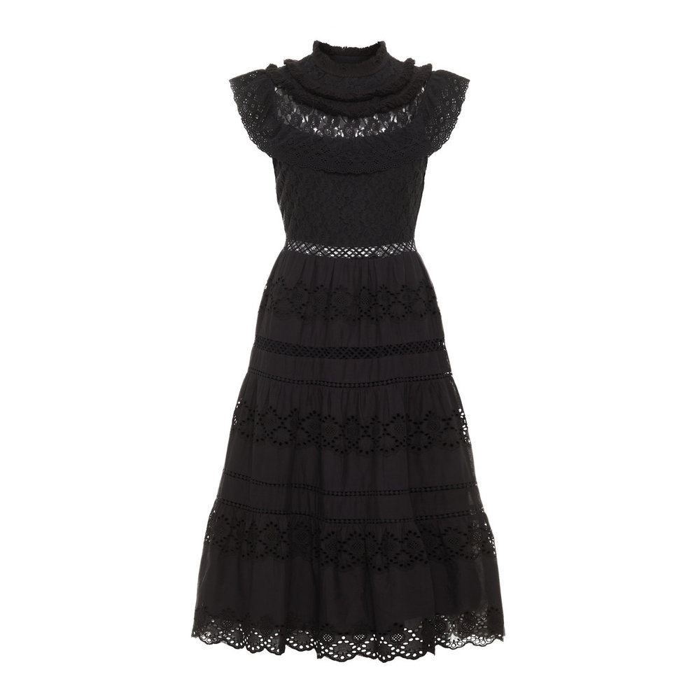 Midi dress Collar detail Broderie Anglaise