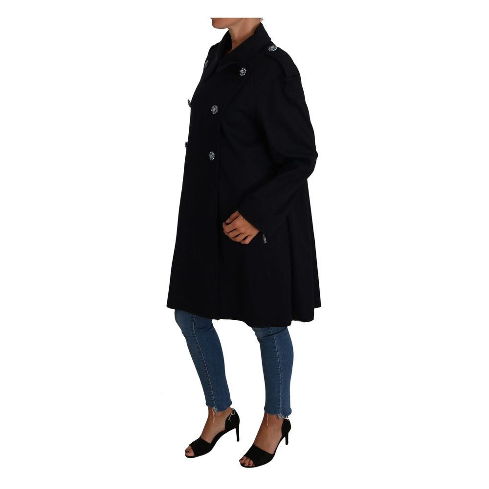 Dolce & Gabbana Black Crystal Buttons Trench A-Line Jacket Coat Dolce & Gabbana