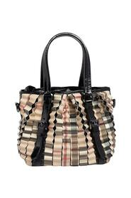 pre-owned Coated Canvas And Patent Leather Cartridge Pleat Tote