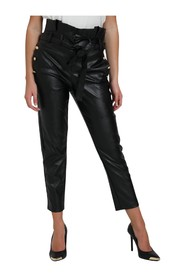 FAUX LEATHER TROUSERS WITH WAIST BELT