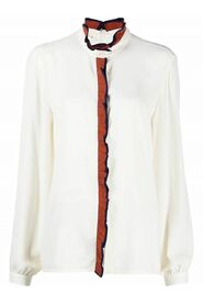 WASHED CREPE SHIRT WITH CONTRAST DECORATIVE RUFFLES