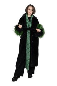 Long faux fur coat with fluffy sleeves