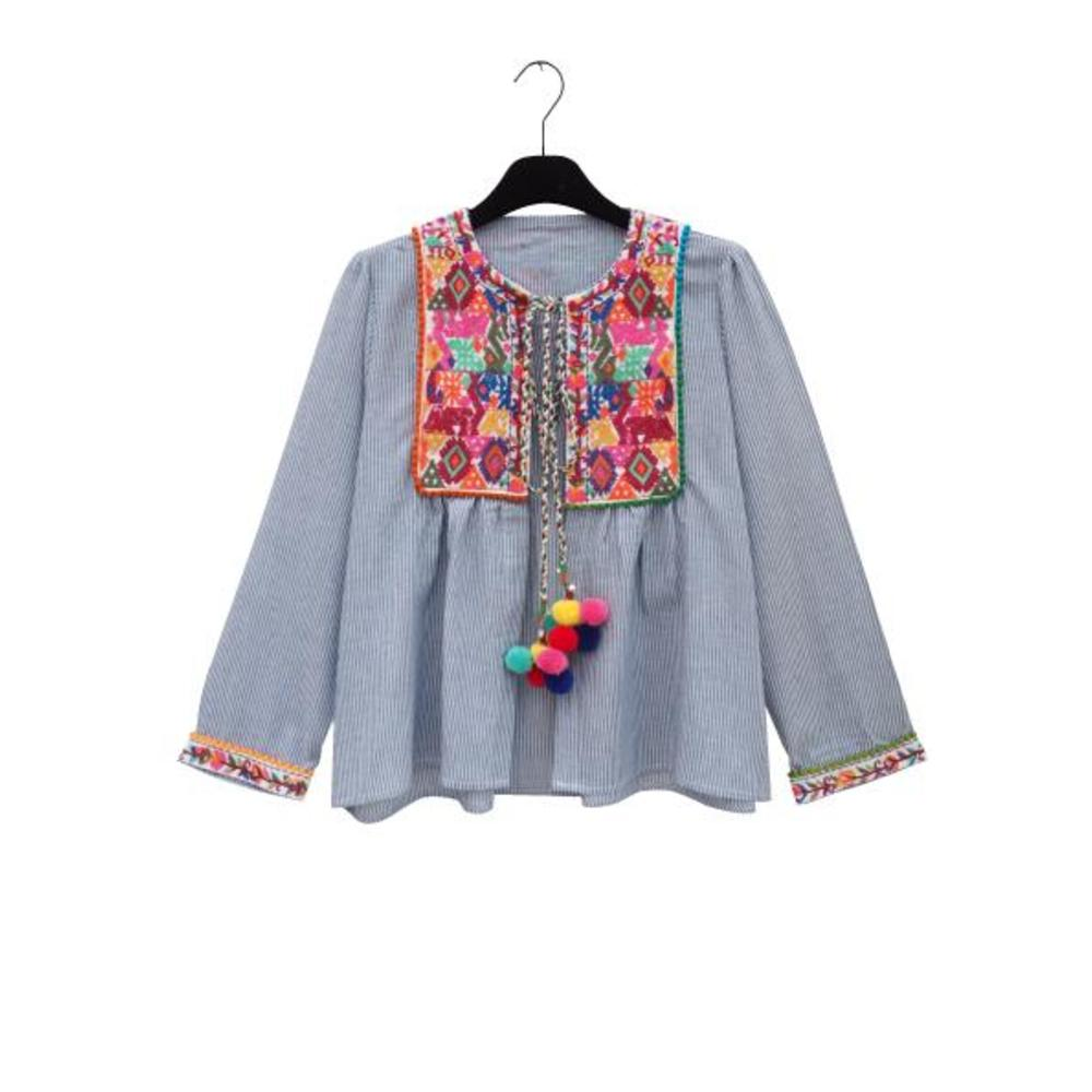 BRIGITTE Cotton Pom Pom cardigan Shirt