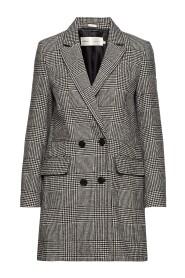 Saga DB coat white smoke/black - Inwear