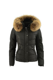 PIA BLACK/NATURAL ROCKANDBLUE REAL FUR DOWNJACKET