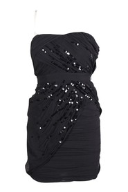 Strapless Silk Dress with Sequin