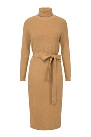 Dress in knit fabric with ribbon waistband