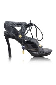 Python Suede Patent Lace High Heel Sandals