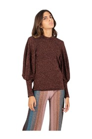 Copper lurex sweater with balloon sleeves