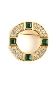 Round color stone brooch