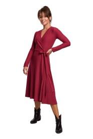 Sukienka kopertowa midi z długim rękawem