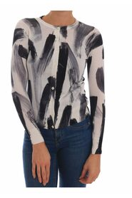 Cardigan Lightweight Silk Paint Stroke Sweater