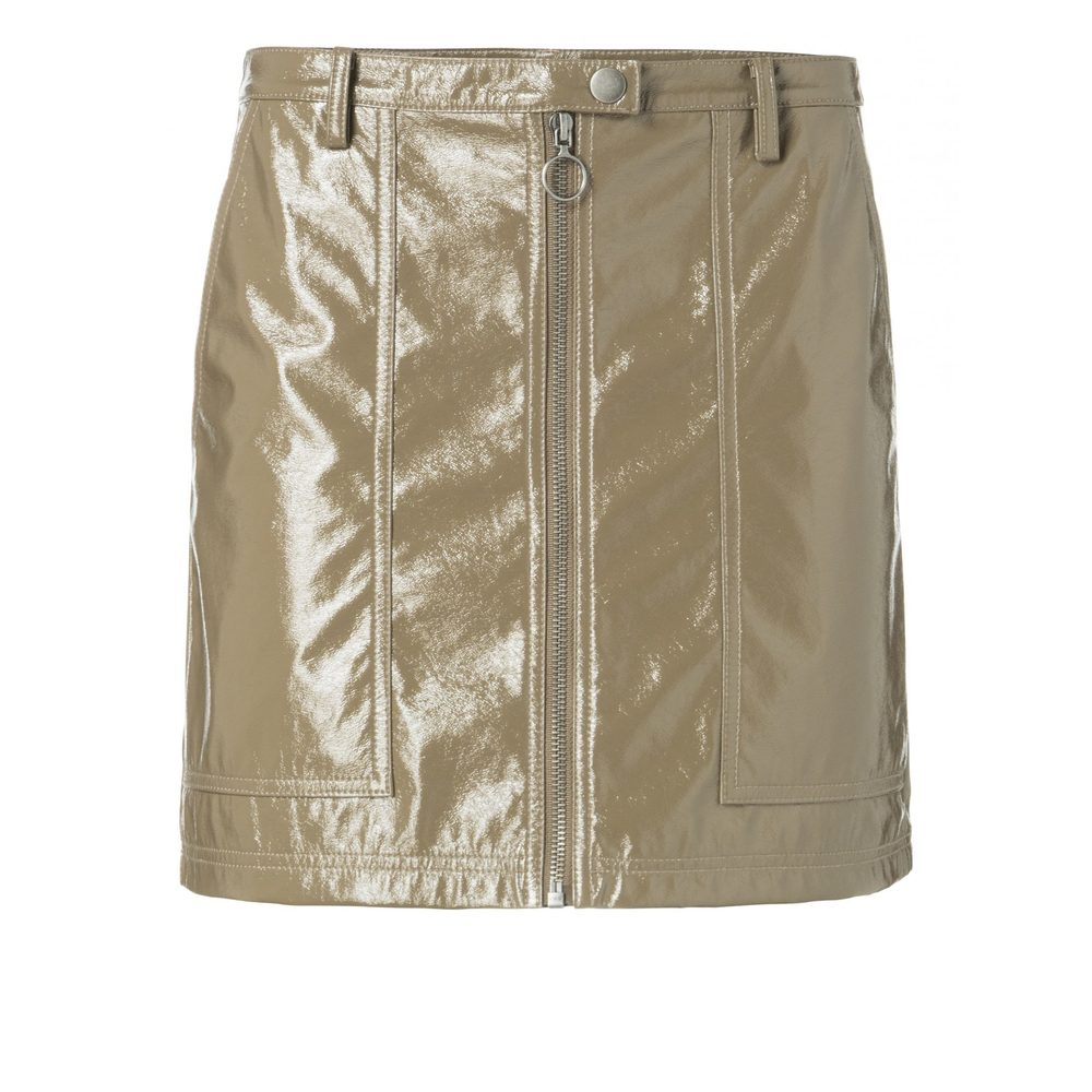 PATENT LEATHER LOOK MINISKIRT WITH ZIPPER DETAIL ON FRONT