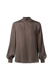 Shiny high shaped neck top with longer back