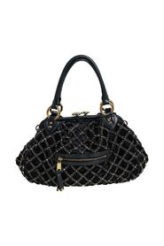 Quilted Satin and Leather Stam Crystal Embellished Satchel
