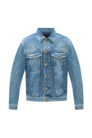 Denim jacket with worn effects