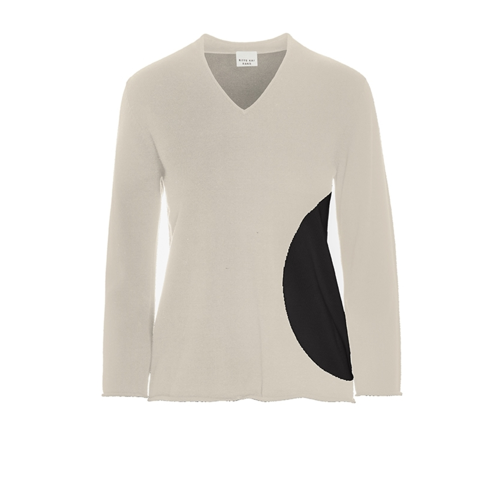 BLOOM KNIT BLOUSE WITH V-NECK