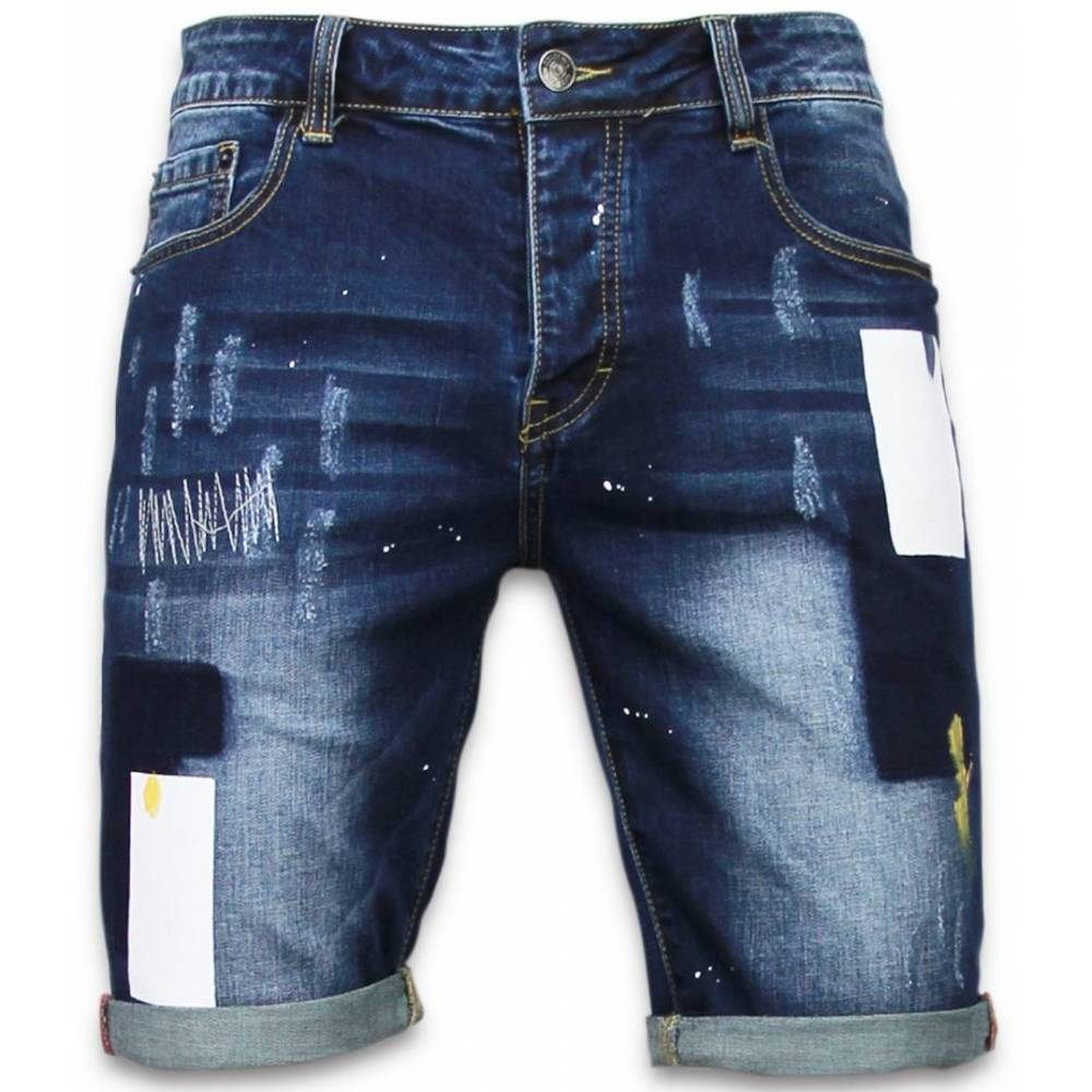 Slim Fit Rectangle Painted Shorts