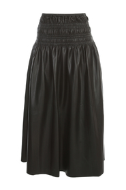 FAUX LEATHER SHIRRED MIDI SKIRT