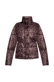 Leopard-printed quilted down jacket