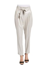 Linen trousers with a bright and slightly iridescent texture