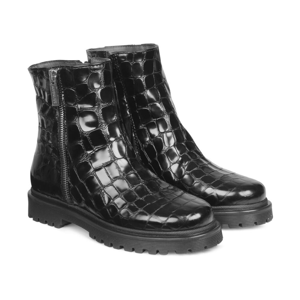 Billi Bi Kort støvle på rågummisål 100% læder Dame Sko 36