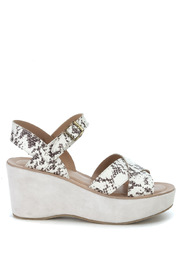 Ava wedge sandals in python printed leather
