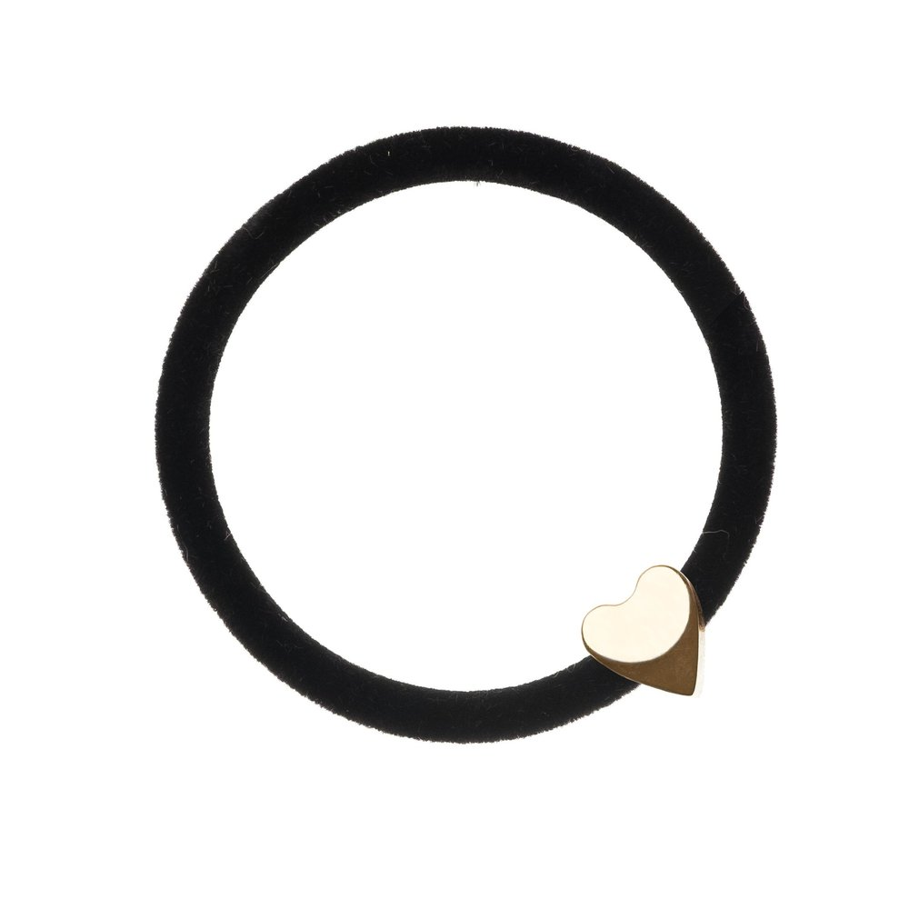 VELVET HAIR TIE BLACK W/GOLD HEART