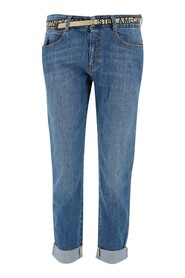 Jeans  Waist with belt loops Button and zipper closure